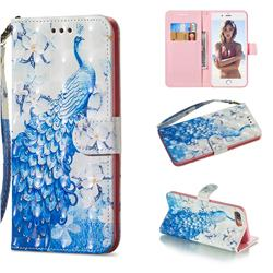 Blue Peacock 3D Painted Leather Wallet Phone Case for iPhone 8 Plus / 7 Plus 7P(5.5 inch)