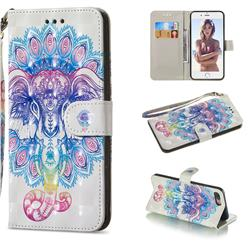 Colorful Elephant 3D Painted Leather Wallet Phone Case for iPhone 8 Plus / 7 Plus 7P(5.5 inch)