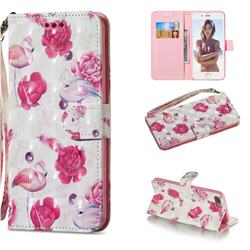 Flamingo 3D Painted Leather Wallet Phone Case for iPhone 8 Plus / 7 Plus 7P(5.5 inch)
