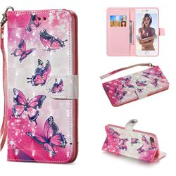 Pink Butterfly 3D Painted Leather Wallet Phone Case for iPhone 8 Plus / 7 Plus 7P(5.5 inch)