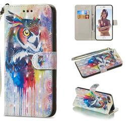 Watercolor Owl 3D Painted Leather Wallet Phone Case for iPhone 8 Plus / 7 Plus 7P(5.5 inch)