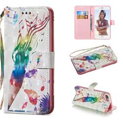 Music Pen 3D Painted Leather Wallet Phone Case for iPhone 8 Plus / 7 Plus 7P(5.5 inch)