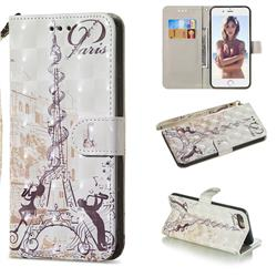 Tower Couple 3D Painted Leather Wallet Phone Case for iPhone 8 Plus / 7 Plus 7P(5.5 inch)