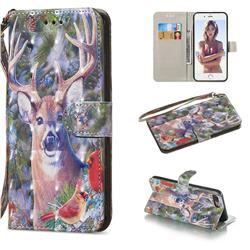 Elk Deer 3D Painted Leather Wallet Phone Case for iPhone 8 Plus / 7 Plus 7P(5.5 inch)