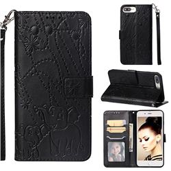 Embossing Fireworks Elephant Leather Wallet Case for iPhone 8 Plus / 7 Plus 7P(5.5 inch) - Black