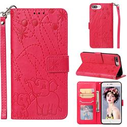 Embossing Fireworks Elephant Leather Wallet Case for iPhone 8 Plus / 7 Plus 7P(5.5 inch) - Red
