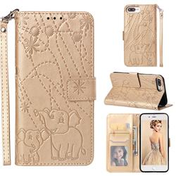 Embossing Fireworks Elephant Leather Wallet Case for iPhone 8 Plus / 7 Plus 7P(5.5 inch) - Golden