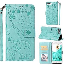 Embossing Fireworks Elephant Leather Wallet Case for iPhone 8 Plus / 7 Plus 7P(5.5 inch) - Green
