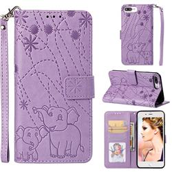 Embossing Fireworks Elephant Leather Wallet Case for iPhone 8 Plus / 7 Plus 7P(5.5 inch) - Purple