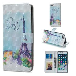 Paris Tower 3D Painted Leather Phone Wallet Case for iPhone 8 Plus / 7 Plus 7P(5.5 inch)