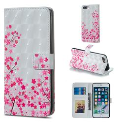 Cherry Blossom 3D Painted Leather Phone Wallet Case for iPhone 8 Plus / 7 Plus 7P(5.5 inch)