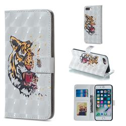 Toothed Tiger 3D Painted Leather Phone Wallet Case for iPhone 8 Plus / 7 Plus 7P(5.5 inch)