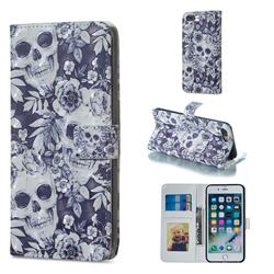 Skull Flower 3D Painted Leather Phone Wallet Case for iPhone 8 Plus / 7 Plus 7P(5.5 inch)