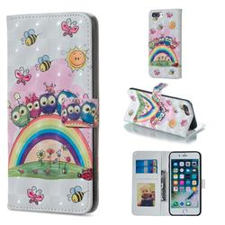 Rainbow Owl Family 3D Painted Leather Phone Wallet Case for iPhone 8 Plus / 7 Plus 7P(5.5 inch)