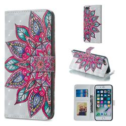 Mandara Flower 3D Painted Leather Phone Wallet Case for iPhone 8 Plus / 7 Plus 7P(5.5 inch)