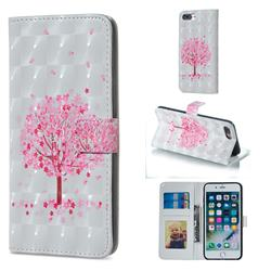 Sakura Flower Tree 3D Painted Leather Phone Wallet Case for iPhone 8 Plus / 7 Plus 7P(5.5 inch)