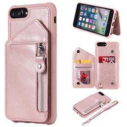 Classic Luxury Buckle Zipper Anti-fall Leather Phone Back Cover for iPhone 8 Plus / 7 Plus 7P(5.5 inch) - Pink