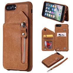 Classic Luxury Buckle Zipper Anti-fall Leather Phone Back Cover for iPhone 8 Plus / 7 Plus 7P(5.5 inch) - Brown
