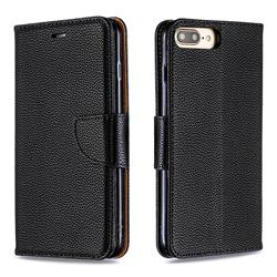 Classic Luxury Litchi Leather Phone Wallet Case for iPhone 8 Plus / 7 Plus 7P(5.5 inch) - Black