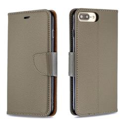 Classic Luxury Litchi Leather Phone Wallet Case for iPhone 8 Plus / 7 Plus 7P(5.5 inch) - Gray