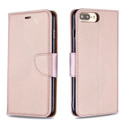 Classic Luxury Litchi Leather Phone Wallet Case for iPhone 8 Plus / 7 Plus 7P(5.5 inch) - Golden