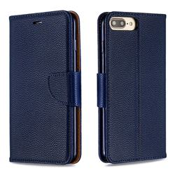 Classic Luxury Litchi Leather Phone Wallet Case for iPhone 8 Plus / 7 Plus 7P(5.5 inch) - Blue