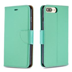 Classic Luxury Litchi Leather Phone Wallet Case for iPhone 8 Plus / 7 Plus 7P(5.5 inch) - Green