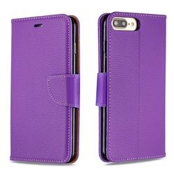 Classic Luxury Litchi Leather Phone Wallet Case for iPhone 8 Plus / 7 Plus 7P(5.5 inch) - Purple