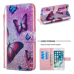 Blue Butterfly Sequins Painted Leather Wallet Case for iPhone 8 Plus / 7 Plus 7P(5.5 inch)