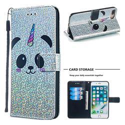 Panda Unicorn Sequins Painted Leather Wallet Case for iPhone 8 Plus / 7 Plus 7P(5.5 inch)