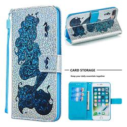 Mermaid Seahorse Sequins Painted Leather Wallet Case for iPhone 8 Plus / 7 Plus 7P(5.5 inch)
