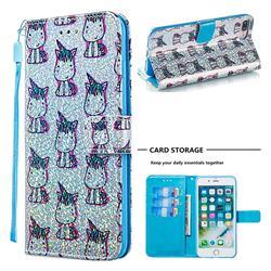 Little Unicorn Sequins Painted Leather Wallet Case for iPhone 8 Plus / 7 Plus 7P(5.5 inch)