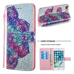 Glutinous Flower Sequins Painted Leather Wallet Case for iPhone 8 Plus / 7 Plus 7P(5.5 inch)
