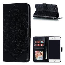 Intricate Embossing Datura Solar Leather Wallet Case for iPhone 8 Plus / 7 Plus 7P(5.5 inch) - Black