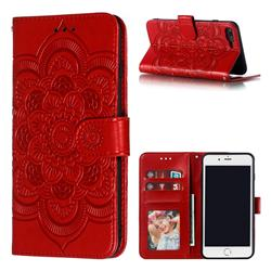 Intricate Embossing Datura Solar Leather Wallet Case for iPhone 8 Plus / 7 Plus 7P(5.5 inch) - Red