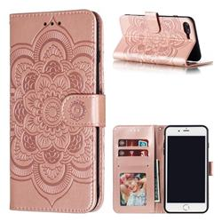 Intricate Embossing Datura Solar Leather Wallet Case for iPhone 8 Plus / 7 Plus 7P(5.5 inch) - Rose Gold