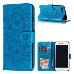 Intricate Embossing Datura Solar Leather Wallet Case for iPhone 8 Plus / 7 Plus 7P(5.5 inch) - Blue