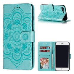 Intricate Embossing Datura Solar Leather Wallet Case for iPhone 8 Plus / 7 Plus 7P(5.5 inch) - Green