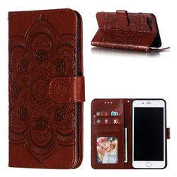 Intricate Embossing Datura Solar Leather Wallet Case for iPhone 8 Plus / 7 Plus 7P(5.5 inch) - Brown