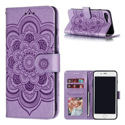 Intricate Embossing Datura Solar Leather Wallet Case for iPhone 8 Plus / 7 Plus 7P(5.5 inch) - Purple