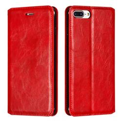Retro Slim Magnetic Crazy Horse PU Leather Wallet Case for iPhone 8 Plus / 7 Plus 7P(5.5 inch) - Red