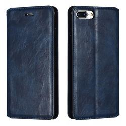 Retro Slim Magnetic Crazy Horse PU Leather Wallet Case for iPhone 8 Plus / 7 Plus 7P(5.5 inch) - Blue