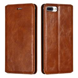 Retro Slim Magnetic Crazy Horse PU Leather Wallet Case for iPhone 8 Plus / 7 Plus 7P(5.5 inch) - Brown