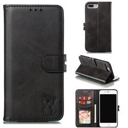 Embossing Happy Cat Leather Wallet Case for iPhone 8 Plus / 7 Plus 7P(5.5 inch) - Black