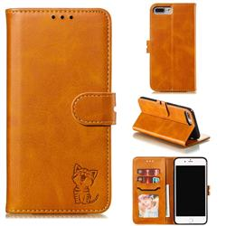 Embossing Happy Cat Leather Wallet Case for iPhone 8 Plus / 7 Plus 7P(5.5 inch) - Yellow