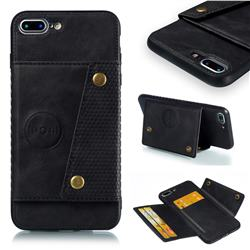 Retro Multifunction Card Slots Stand Leather Coated Phone Back Cover for iPhone 8 Plus / 7 Plus 7P(5.5 inch) - Black