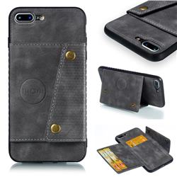Retro Multifunction Card Slots Stand Leather Coated Phone Back Cover for iPhone 8 Plus / 7 Plus 7P(5.5 inch) - Gray