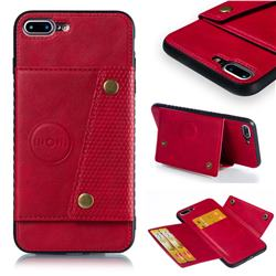 Retro Multifunction Card Slots Stand Leather Coated Phone Back Cover for iPhone 8 Plus / 7 Plus 7P(5.5 inch) - Red