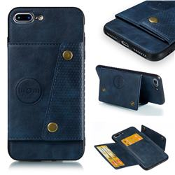 Retro Multifunction Card Slots Stand Leather Coated Phone Back Cover for iPhone 8 Plus / 7 Plus 7P(5.5 inch) - Blue