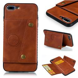 Retro Multifunction Card Slots Stand Leather Coated Phone Back Cover for iPhone 8 Plus / 7 Plus 7P(5.5 inch) - Brown